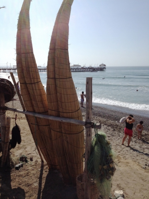 Reed boats and fish nets at Huanchaco