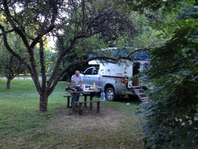 Campground in apple orchard in El Bolson