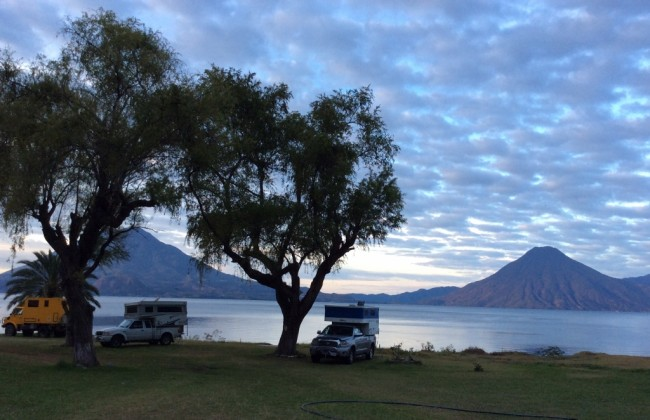 Us and other overlanders at Lake Atitlan in Guatemala