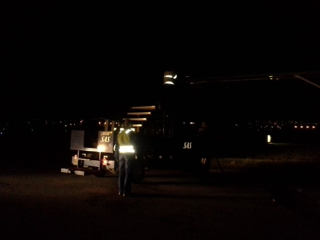 Fueling up at Trondheim, after dark.